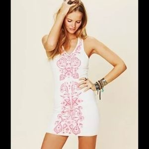 Free People White and Pink Embroidered Dress